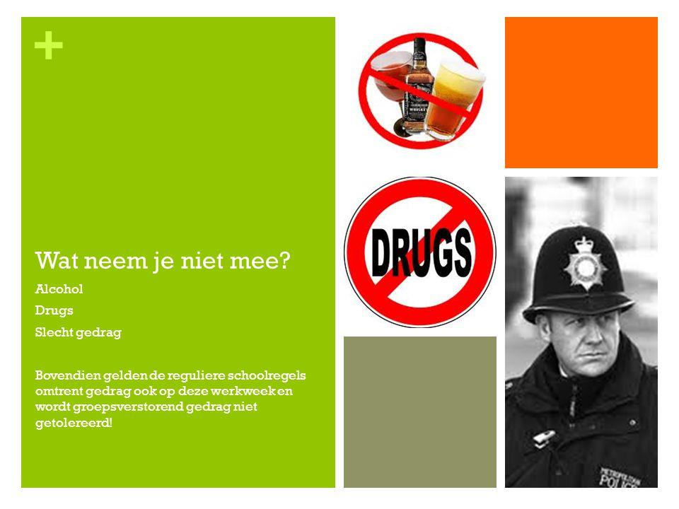 Wat neem je niet mee Alcohol Drugs Slecht gedrag