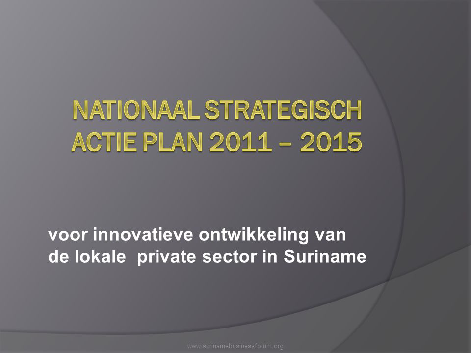 NATIONAAL STRATEGISCH ACTIE PLAN 2011 – 2015