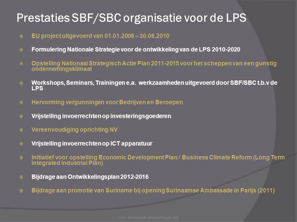 Prestaties SBF/SBC organisatie voor de LPS