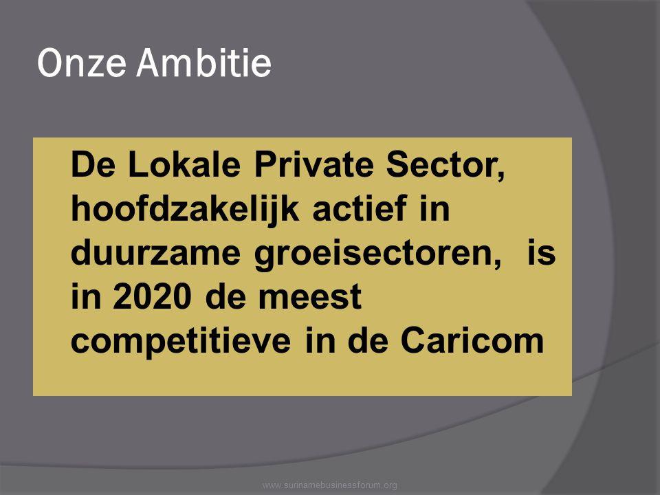 Onze Ambitie De Lokale Private Sector, hoofdzakelijk actief in duurzame groeisectoren, is in 2020 de meest competitieve in de Caricom.