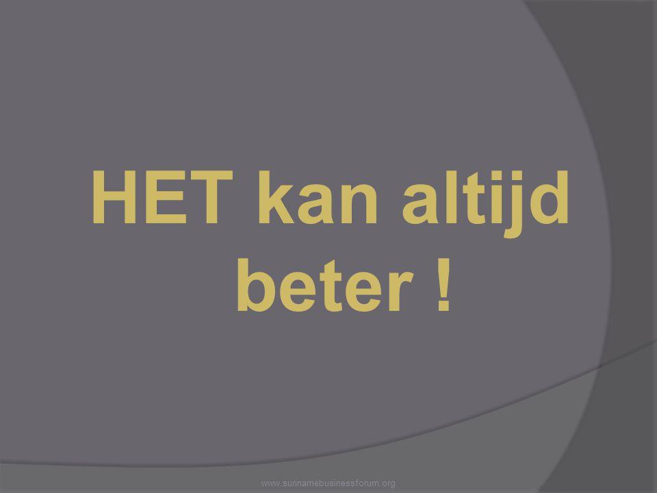 HET kan altijd beter ! www.surinamebusinessforum.org