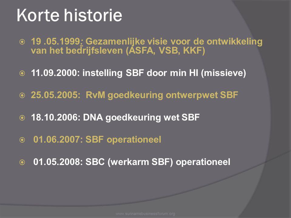 Korte historie 19 .05.1999: Gezamenlijke visie voor de ontwikkeling van het bedrijfsleven (ASFA, VSB, KKF)