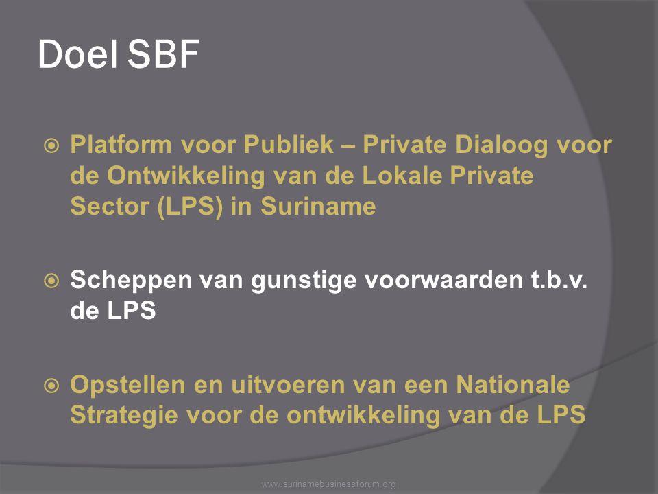 Doel SBF Platform voor Publiek – Private Dialoog voor de Ontwikkeling van de Lokale Private Sector (LPS) in Suriname.