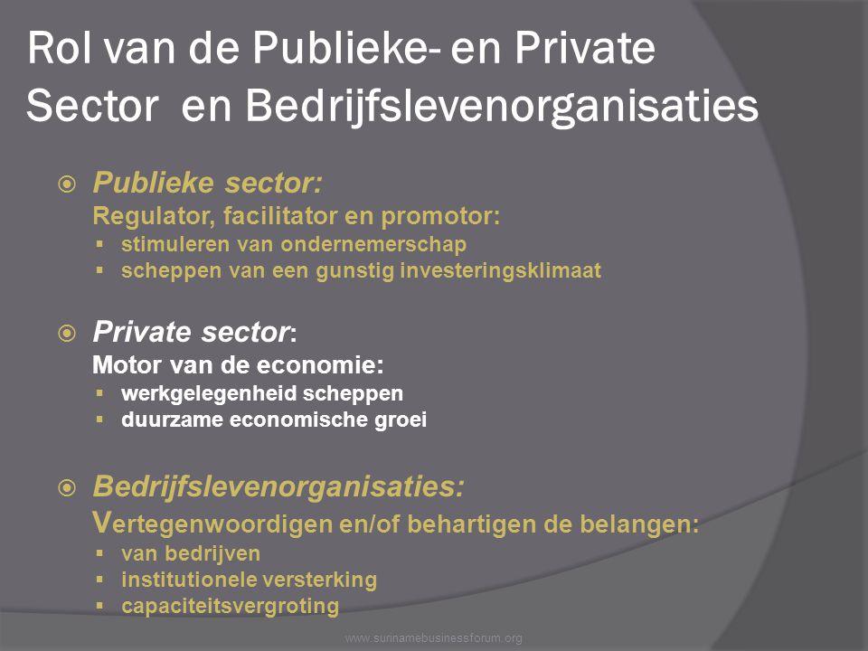 Rol van de Publieke- en Private Sector en Bedrijfslevenorganisaties
