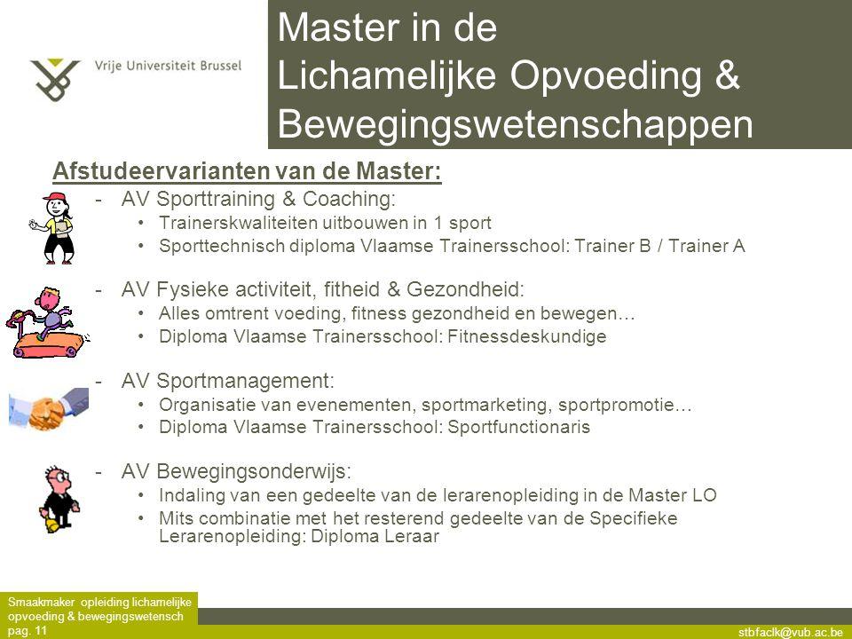 Master in de Lichamelijke Opvoeding & Bewegingswetenschappen