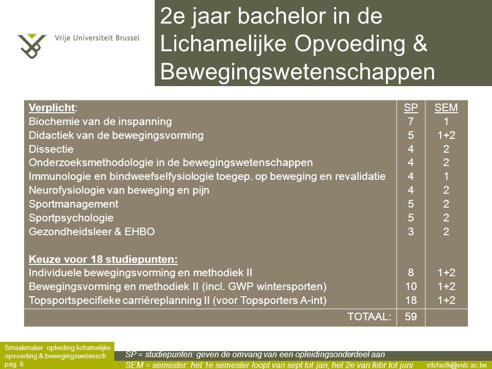 2e jaar bachelor in de Lichamelijke Opvoeding & Bewegingswetenschappen
