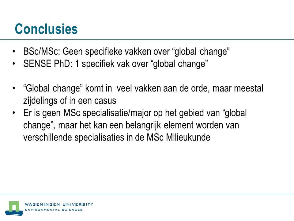 Conclusies BSc/MSc: Geen specifieke vakken over global change