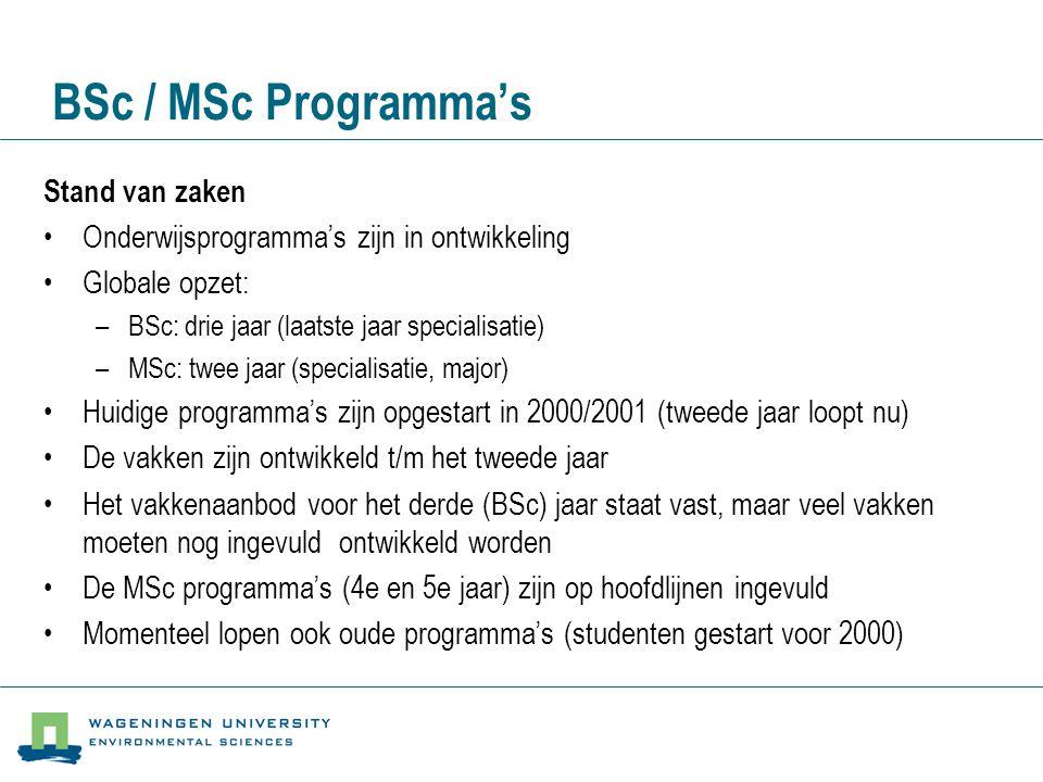 BSc / MSc Programma's Stand van zaken