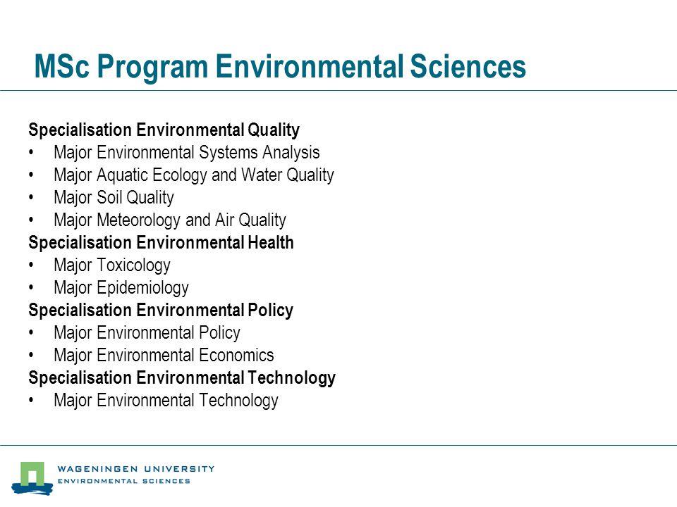 MSc Program Environmental Sciences