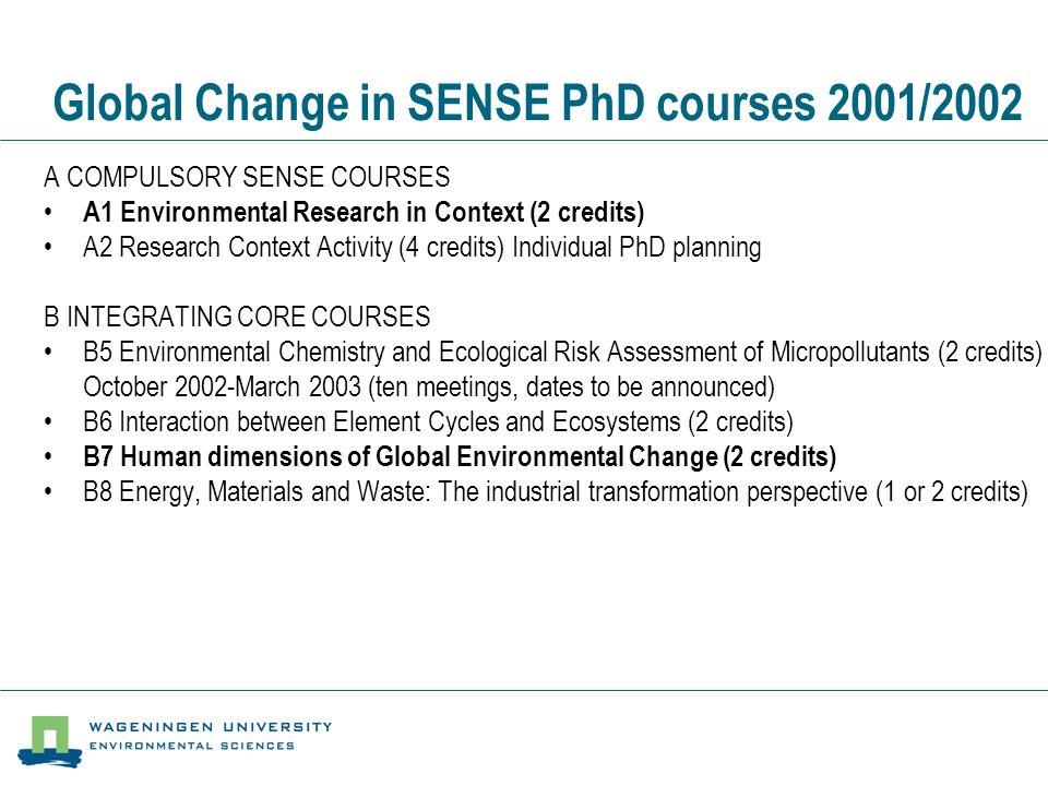 Global Change in SENSE PhD courses 2001/2002