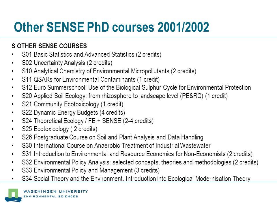 Other SENSE PhD courses 2001/2002