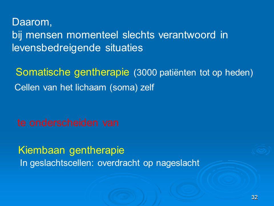 Somatische gentherapie (3000 patiënten tot op heden)