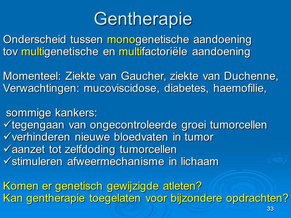 Gentherapie Onderscheid tussen monogenetische aandoening