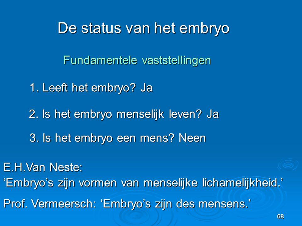 De status van het embryo