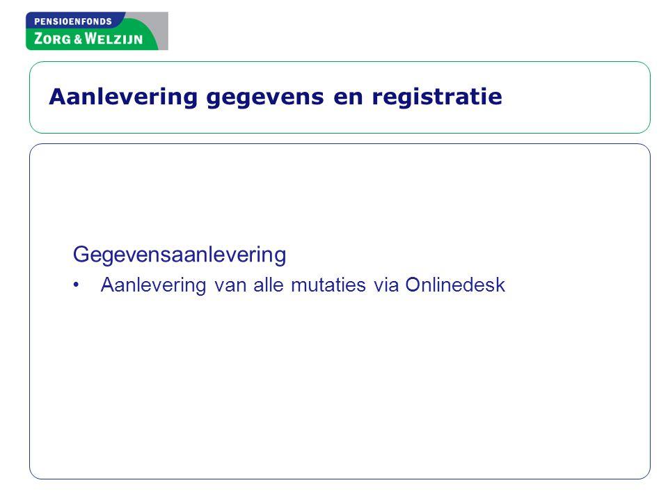 Aanlevering gegevens en registratie