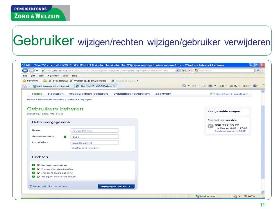 Gebruiker wijzigen/rechten wijzigen/gebruiker verwijderen