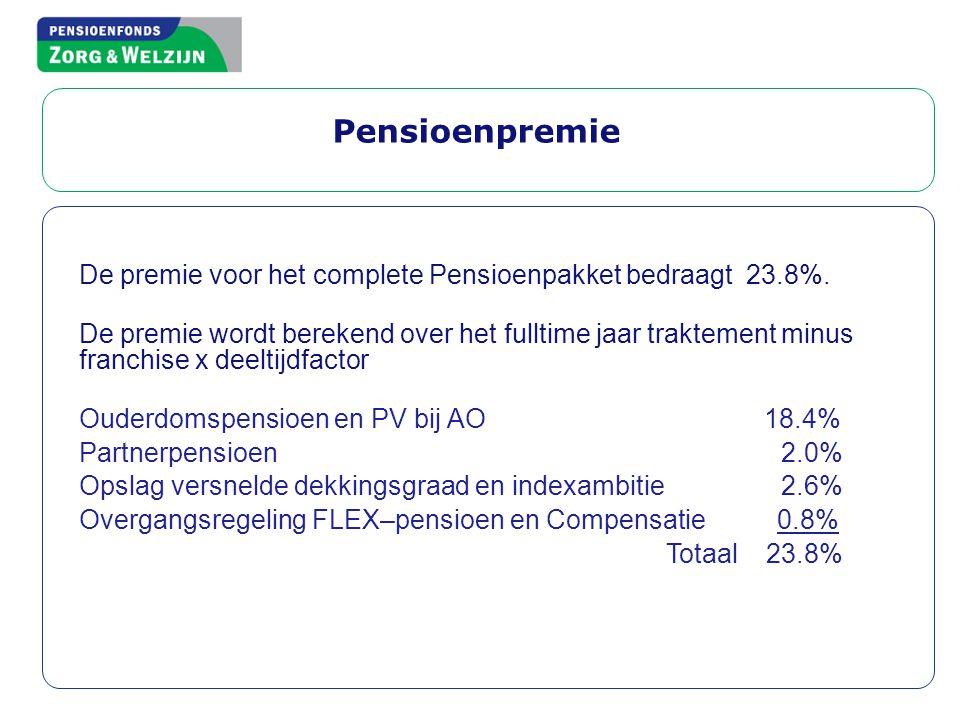 Pensioenpremie De premie voor het complete Pensioenpakket bedraagt 23.8%.
