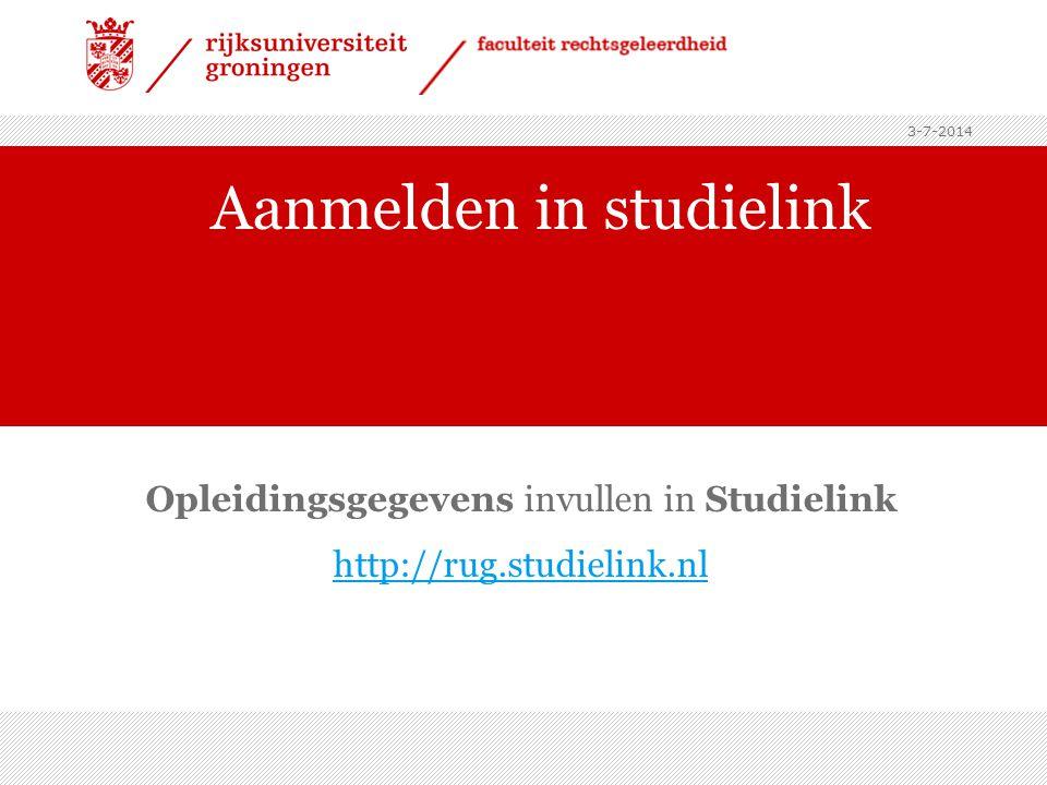 Aanmelden in studielink