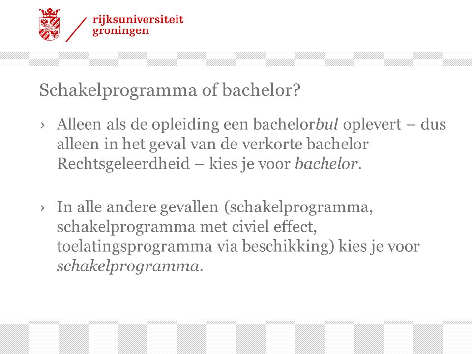 Schakelprogramma of bachelor