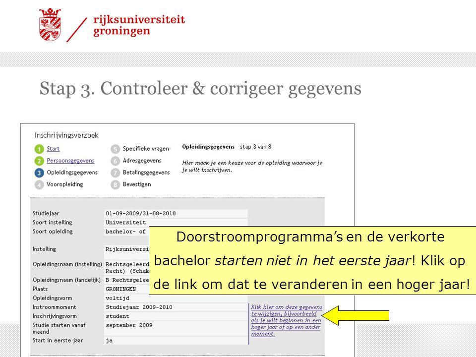 Stap 3. Controleer & corrigeer gegevens