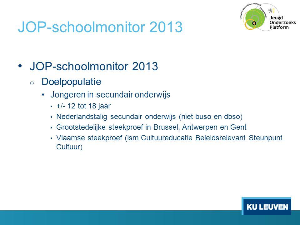 JOP-schoolmonitor 2013 JOP-schoolmonitor 2013 Doelpopulatie