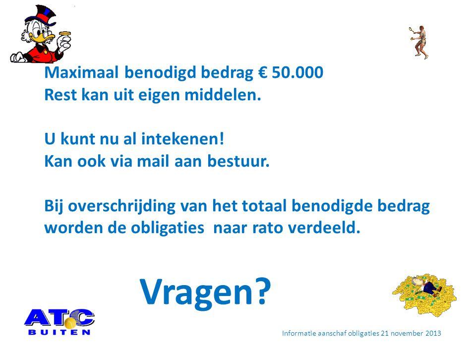 Informatie aanschaf obligaties 21 november 2013