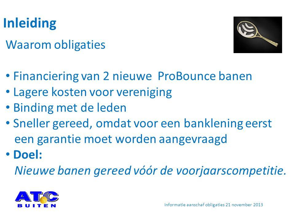 Inleiding Waarom obligaties Financiering van 2 nieuwe ProBounce banen