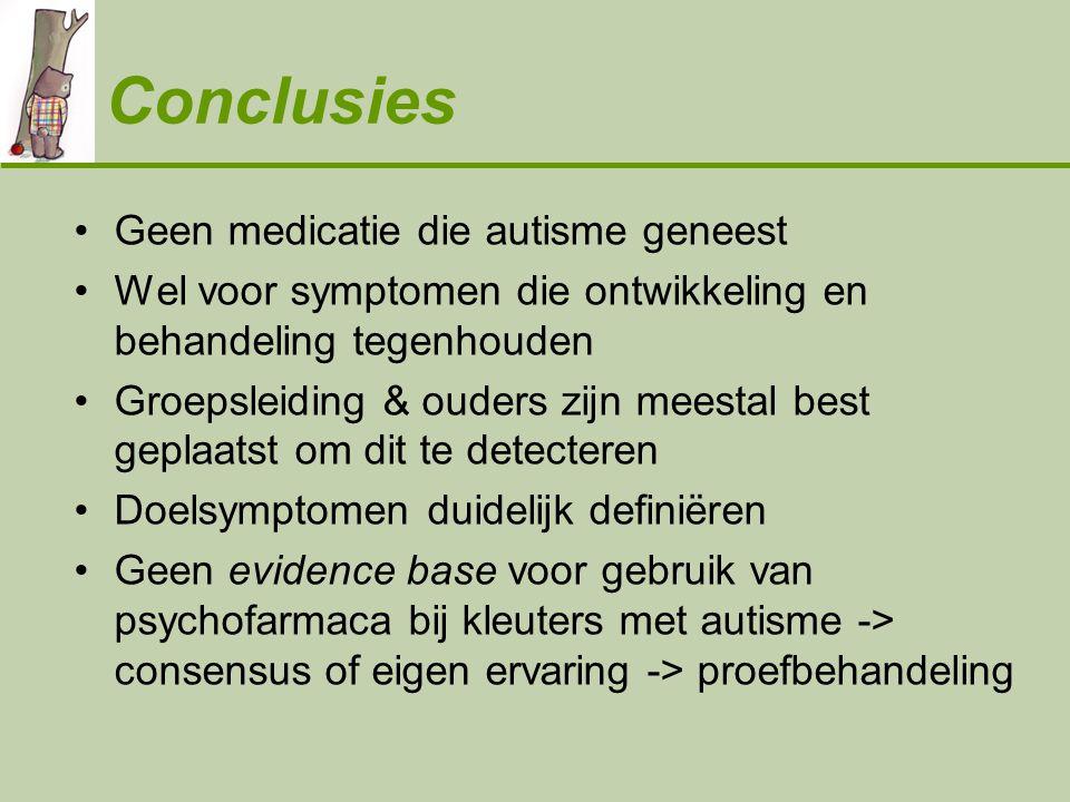 Conclusies Geen medicatie die autisme geneest