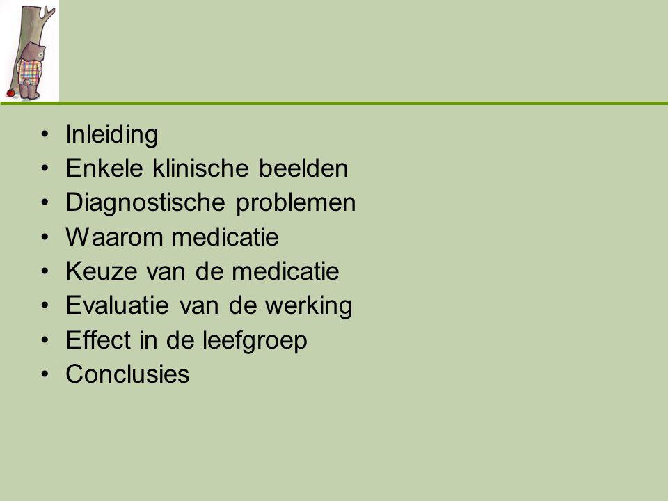 Inleiding Enkele klinische beelden. Diagnostische problemen. Waarom medicatie. Keuze van de medicatie.