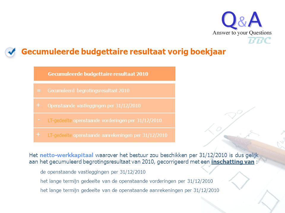 BBC Gecumuleerde budgettaire resultaat vorig boekjaar = + - +