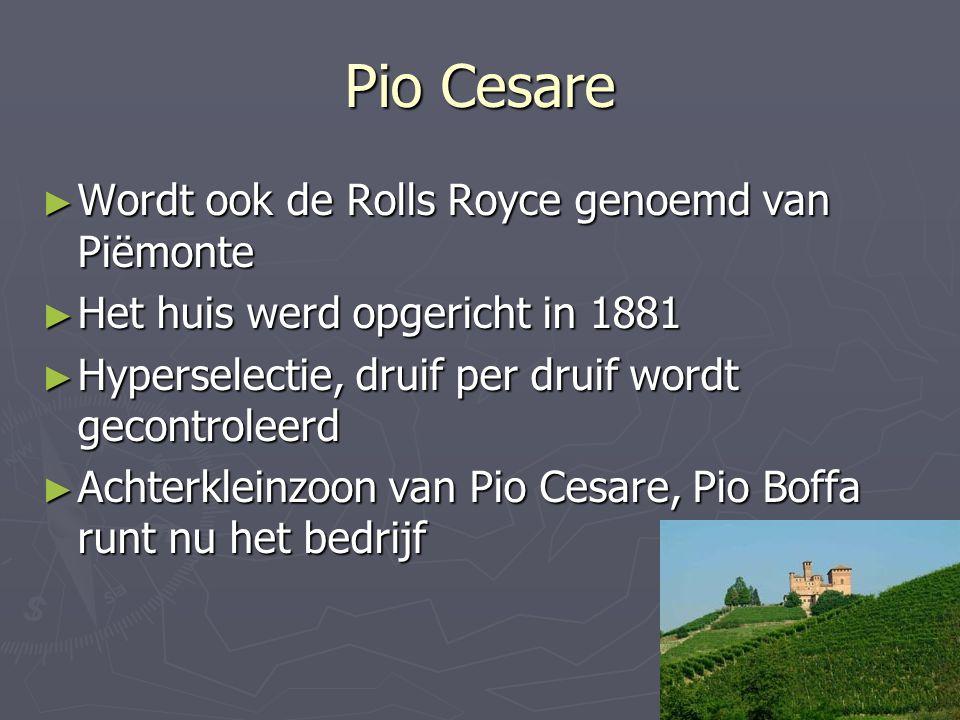 Pio Cesare Wordt ook de Rolls Royce genoemd van Piëmonte