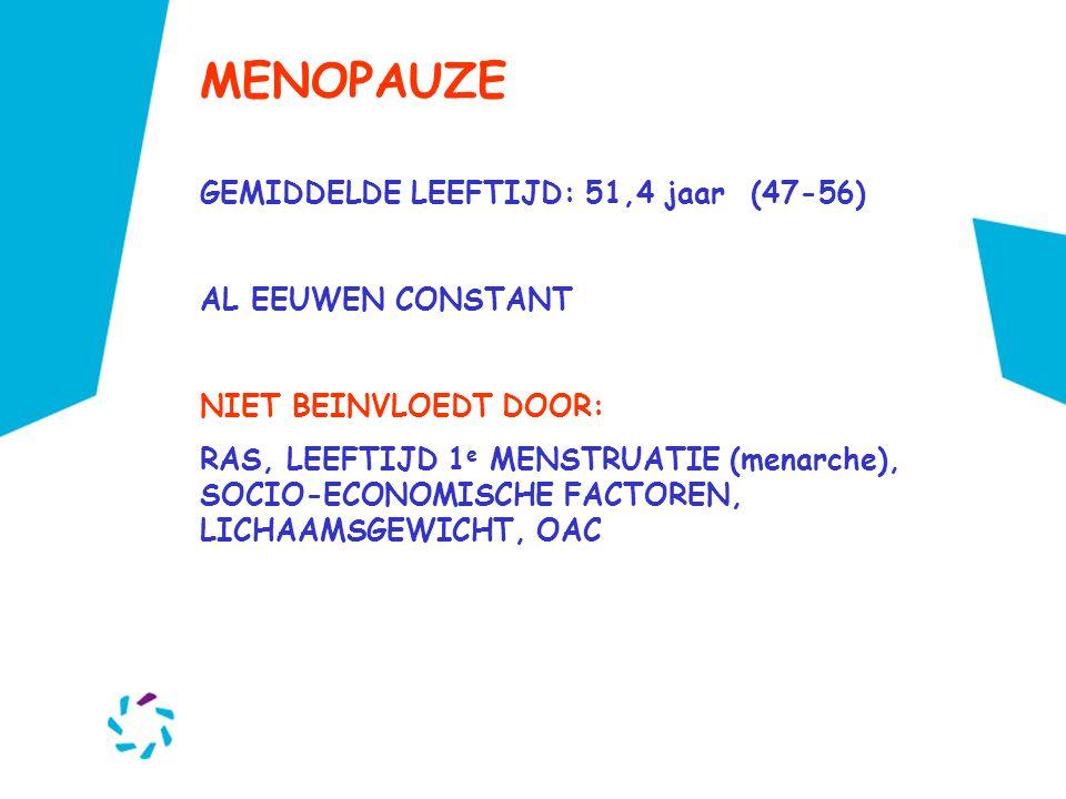 MENOPAUZE GEMIDDELDE LEEFTIJD: 51,4 jaar (47-56) AL EEUWEN CONSTANT