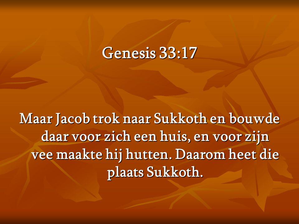 Genesis 33:17 Maar Jacob trok naar Sukkoth en bouwde daar voor zich een huis, en voor zijn vee maakte hij hutten.