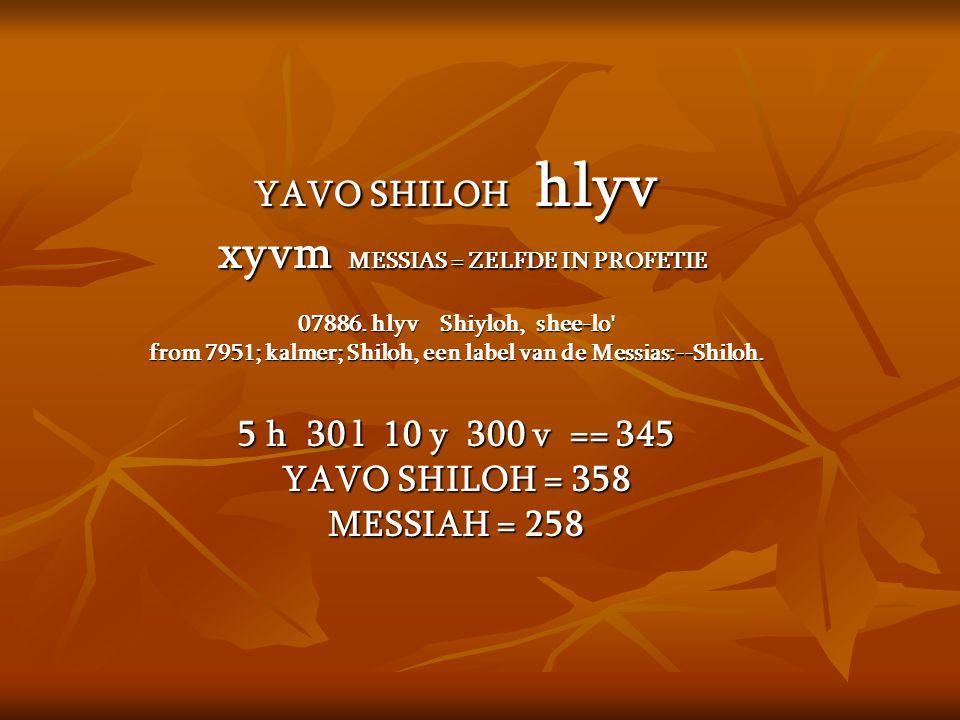 xyvm MESSIAS = ZELFDE IN PROFETIE