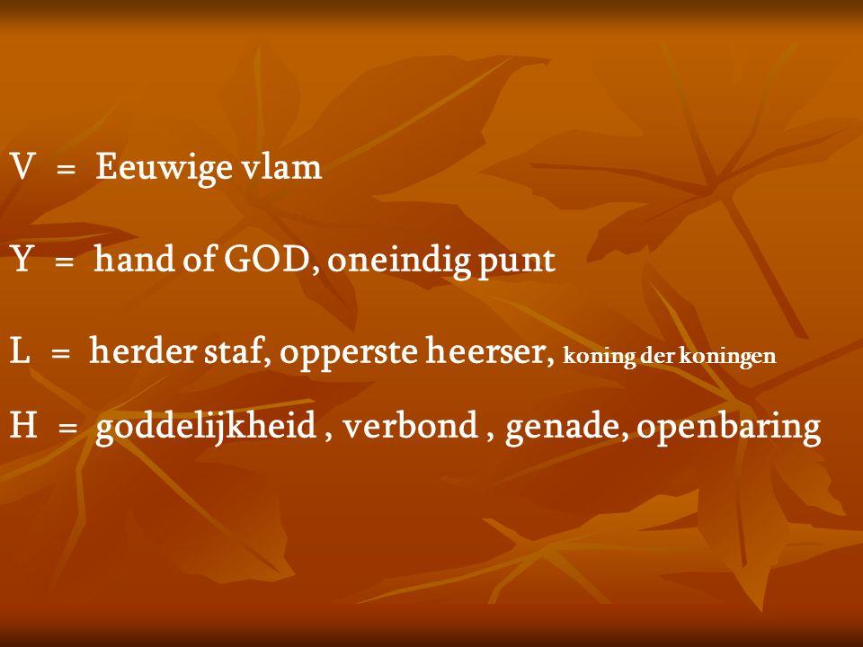 V = Eeuwige vlam Y = hand of GOD, oneindig punt. L = herder staf, opperste heerser, koning der koningen.