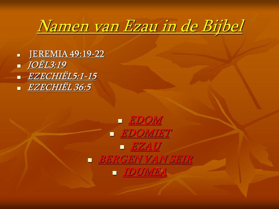 Namen van Ezau in de Bijbel