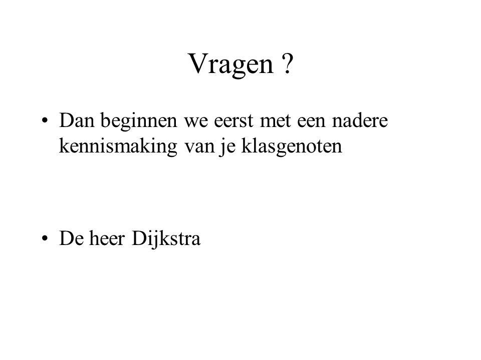 Vragen Dan beginnen we eerst met een nadere kennismaking van je klasgenoten De heer Dijkstra