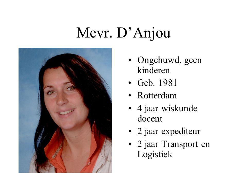 Mevr. D'Anjou Ongehuwd, geen kinderen Geb. 1981 Rotterdam