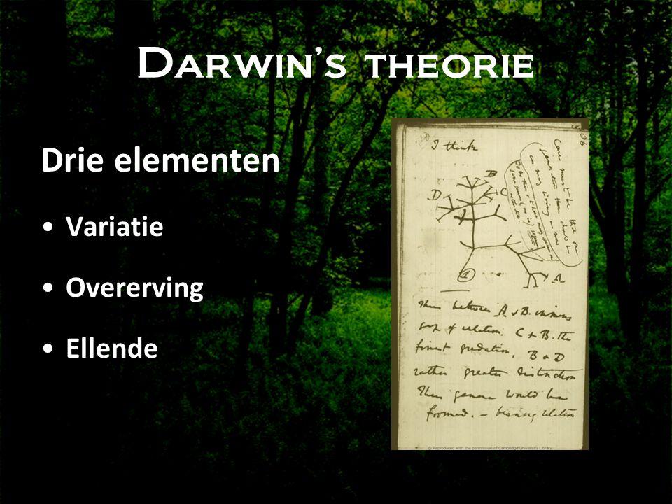 Darwin's theorie Drie elementen Variatie Overerving Ellende