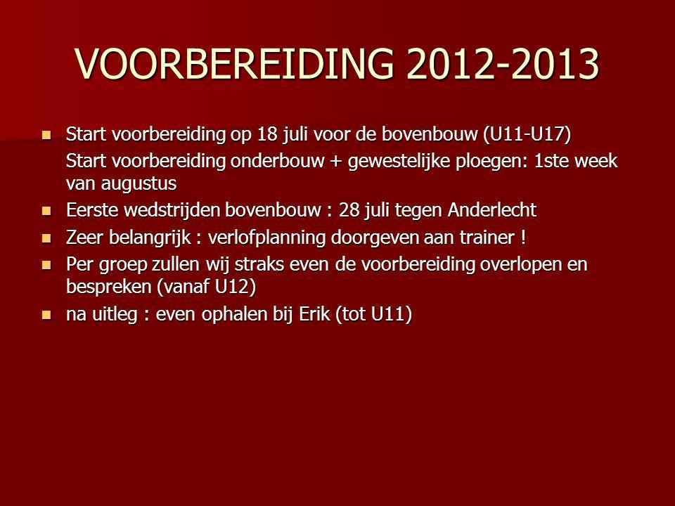 VOORBEREIDING 2012-2013 Start voorbereiding op 18 juli voor de bovenbouw (U11-U17)