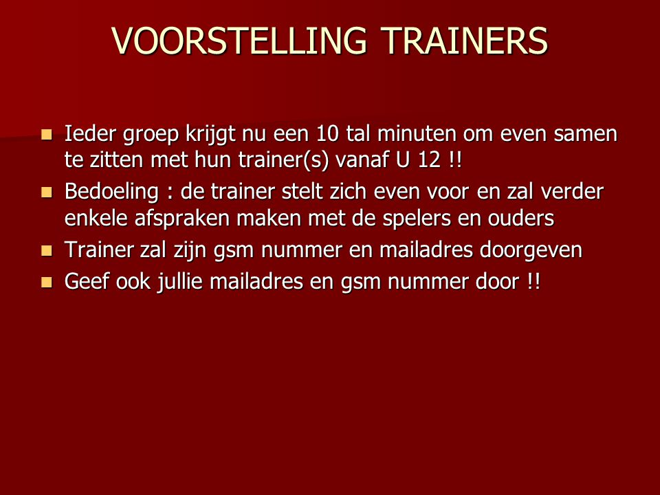 VOORSTELLING TRAINERS