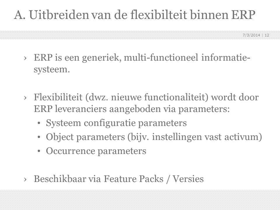 A. Uitbreiden van de flexibilteit binnen ERP
