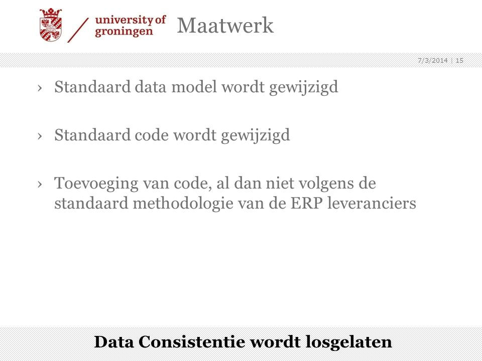 Data Consistentie wordt losgelaten