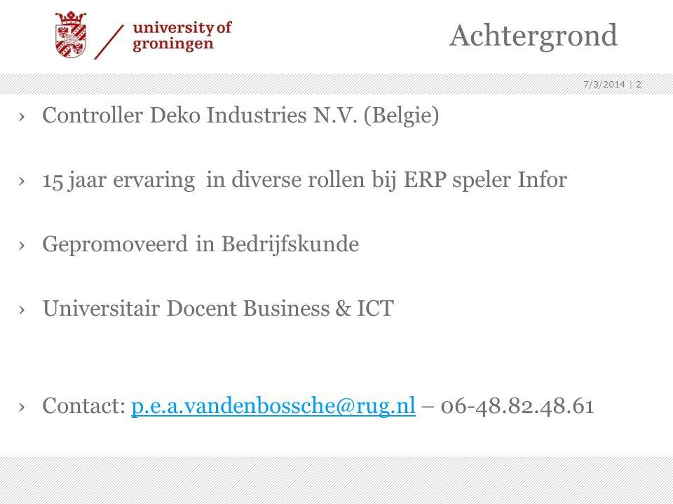 Achtergrond Controller Deko Industries N.V. (Belgie)