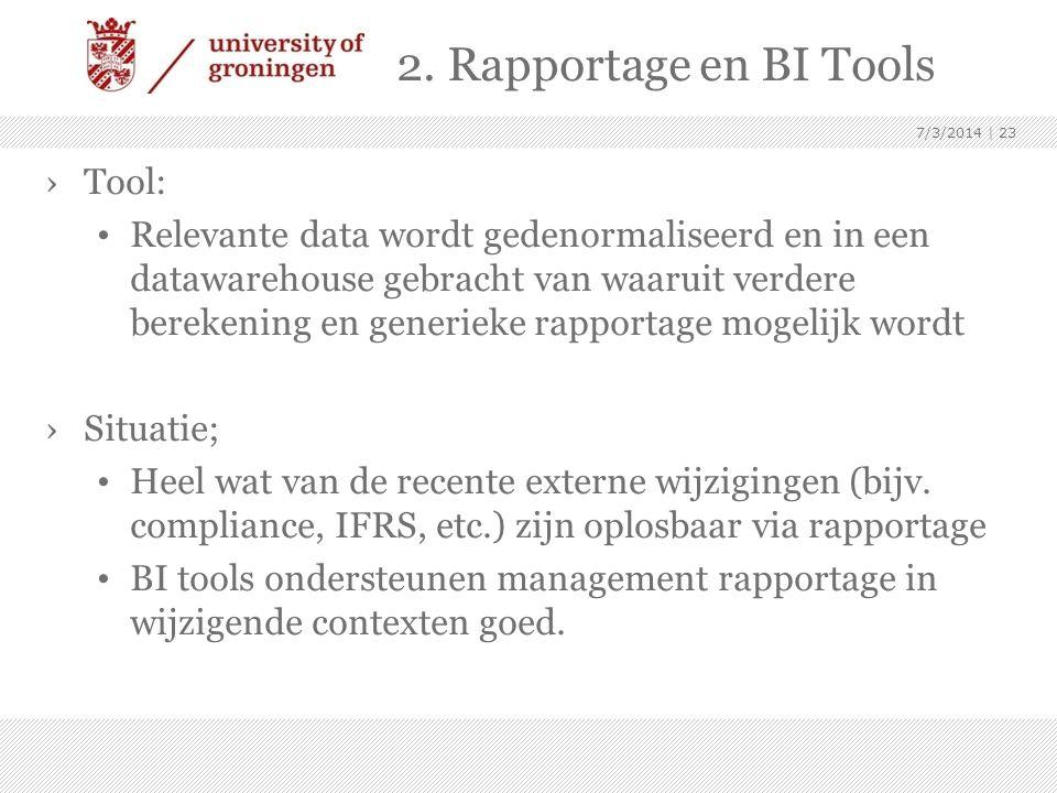 2. Rapportage en BI Tools Tool: