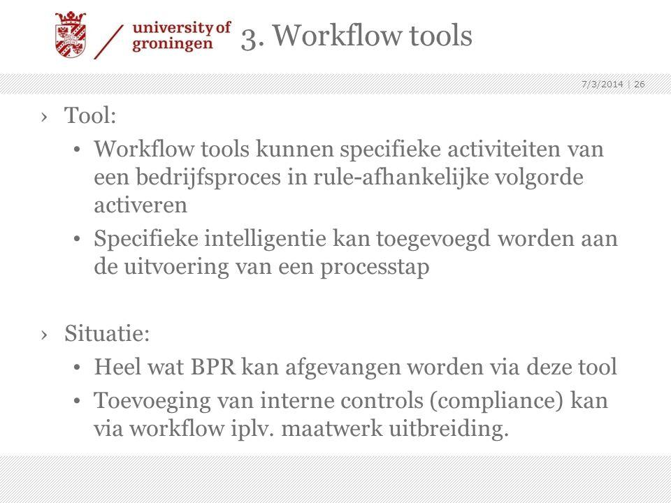 3. Workflow tools 4/3/2017. Tool: Workflow tools kunnen specifieke activiteiten van een bedrijfsproces in rule-afhankelijke volgorde activeren.