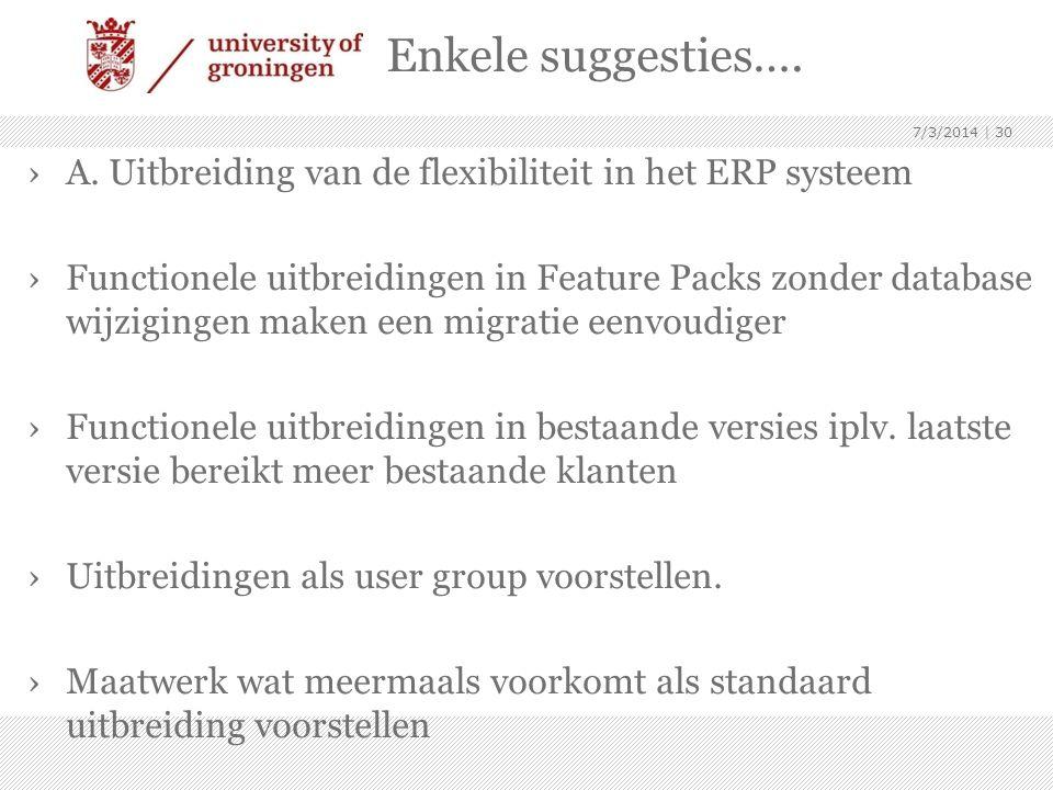 Enkele suggesties…. 4/3/2017. A. Uitbreiding van de flexibiliteit in het ERP systeem.