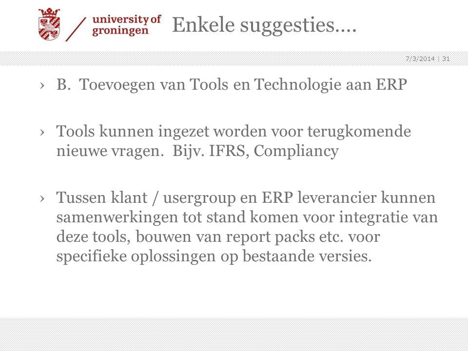 Enkele suggesties…. B. Toevoegen van Tools en Technologie aan ERP