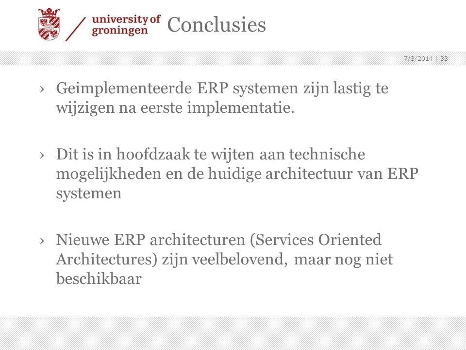 Conclusies 4/3/2017. Geimplementeerde ERP systemen zijn lastig te wijzigen na eerste implementatie.