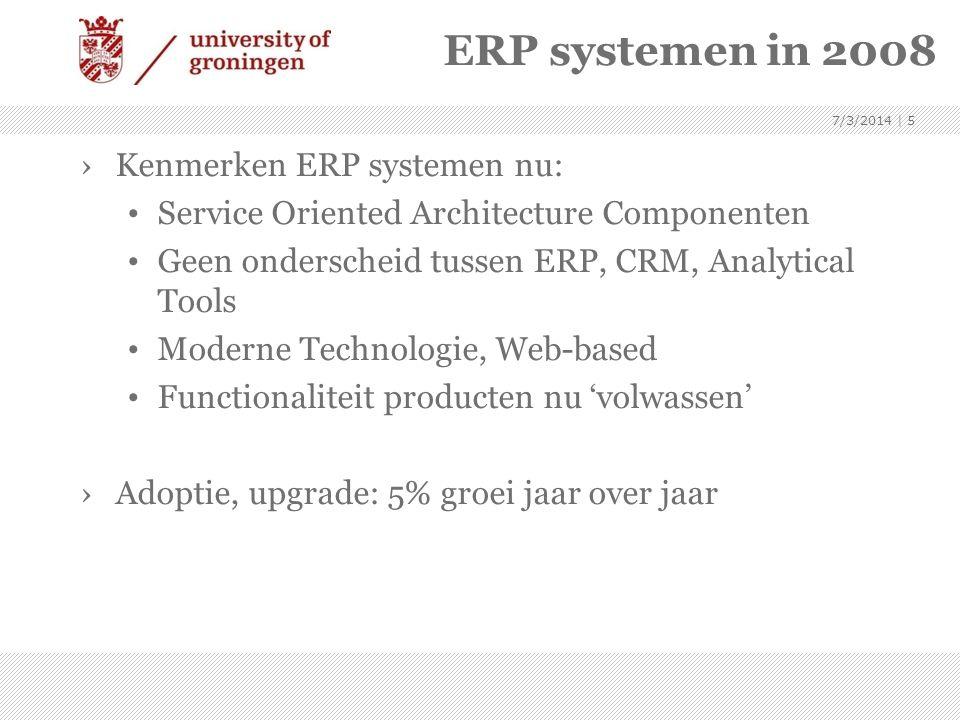 ERP systemen in 2008 Kenmerken ERP systemen nu: